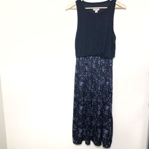 Ann Taylor Loft Blue Floral Sleeveless Maxi Dress